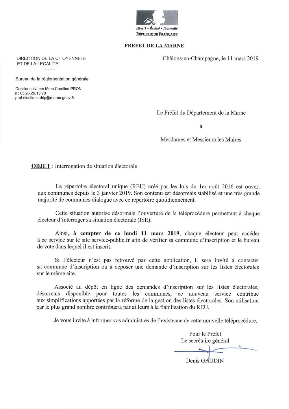 Courrier information ouverture ISE