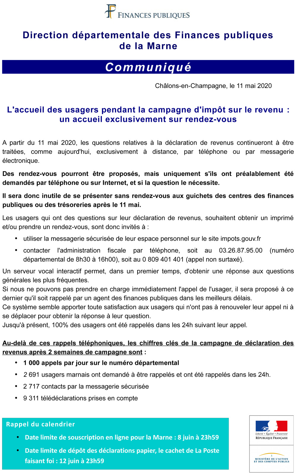 Accueil des usagers pendant la campagne Impôt sur le revenu - Communiqué DDFiP de la Marne 11-05-2020